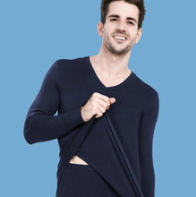 The new men 's thermal underwear sets 100% cotton V-collar and Round collar design Large size widened XXL/XXXL/tb111023