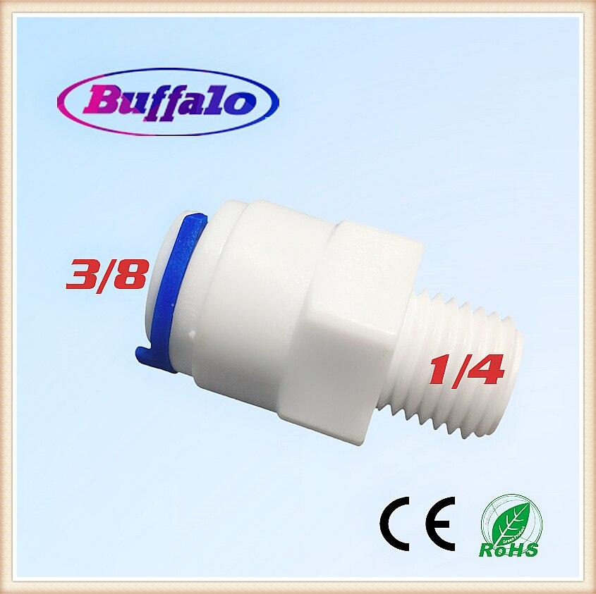 500 шт./лот, 1/4 Внешняя резьба 3/8 quick connect для трубы PE, оборудование для очистки воды, Пластиковая фурнитура