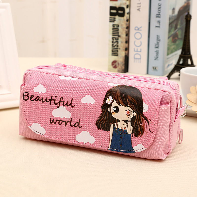 New Cute Beautiful World Canvas Pencil Case Kawaii Kids Girl Pencil Bag Pen Bag Pouch Student School Supplies Stationery Gifts mint student navy canvas pen pencil case coin purse pouch bag jun01