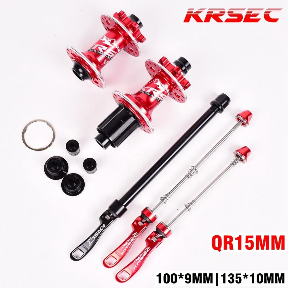 KRSEC MTB 32H Hole Hub Bicycle Disc Brake 5 Bearings Hubs QR Thru Axle Quick Release 6 Pawls 72 Clicks AM FR MTB Mountain Bike
