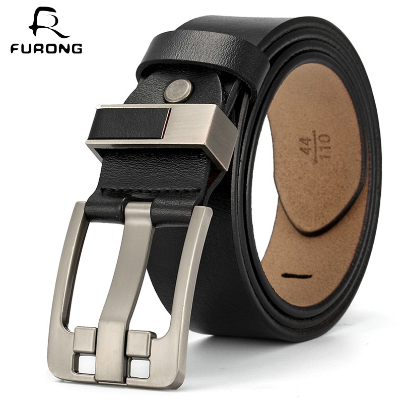 FURONG Leisure Men Belt Full-grain Leather 100% Genuine Cow With Pin Buckle Male Waist