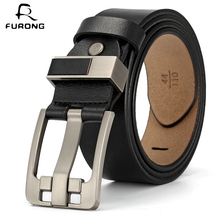 FURONG Leisure Men Belt Full-grain Leather Belt 100% Genuine Cow Leather With Pin Buckle Male Full-grain Leather Waist Belt цена и фото