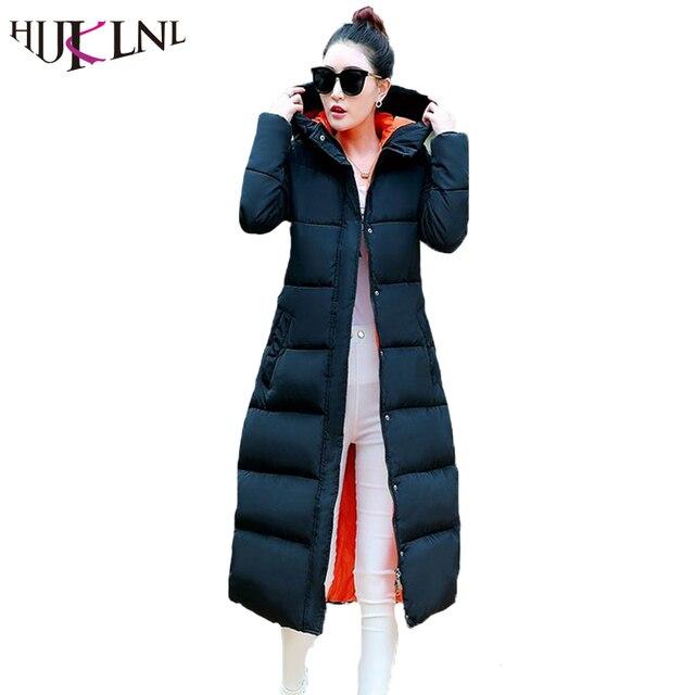 Hijklnl Новинка 2017 года хлопковая куртка Для женщин зимние Куртки длинная куртка Для женщин высокое качество теплые женские утолщение Теплая парка капюшон jx033