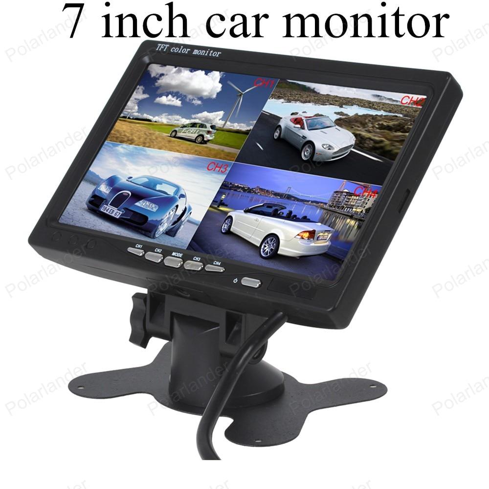 Polarlander Car Video Monitor For Front Rear Side View Camera DC12V-24V 7 LCD 4CH Video input Quad Split Screen 6 Mode Display split side tee