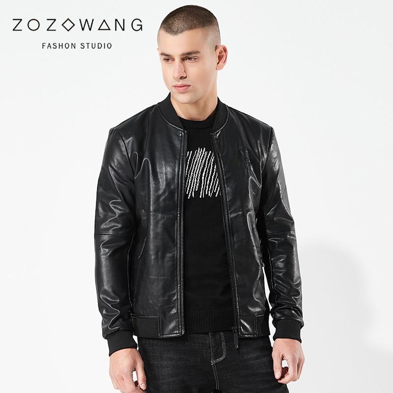 ZOZOWANG 2019 printemps été veste hommes en cuir veste rétro moto veste o-col haute qualité manteau PU cuir grande taille