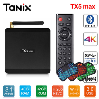 Tanix TX5 Max TV caja Android 8,1 Amlogic S905X2 4 GB LPDDR4 + 32 GB EMMC  2,4 GHz + 5 GHz WiFi BT4 2 soporte 4 K H 265 Set Top Box