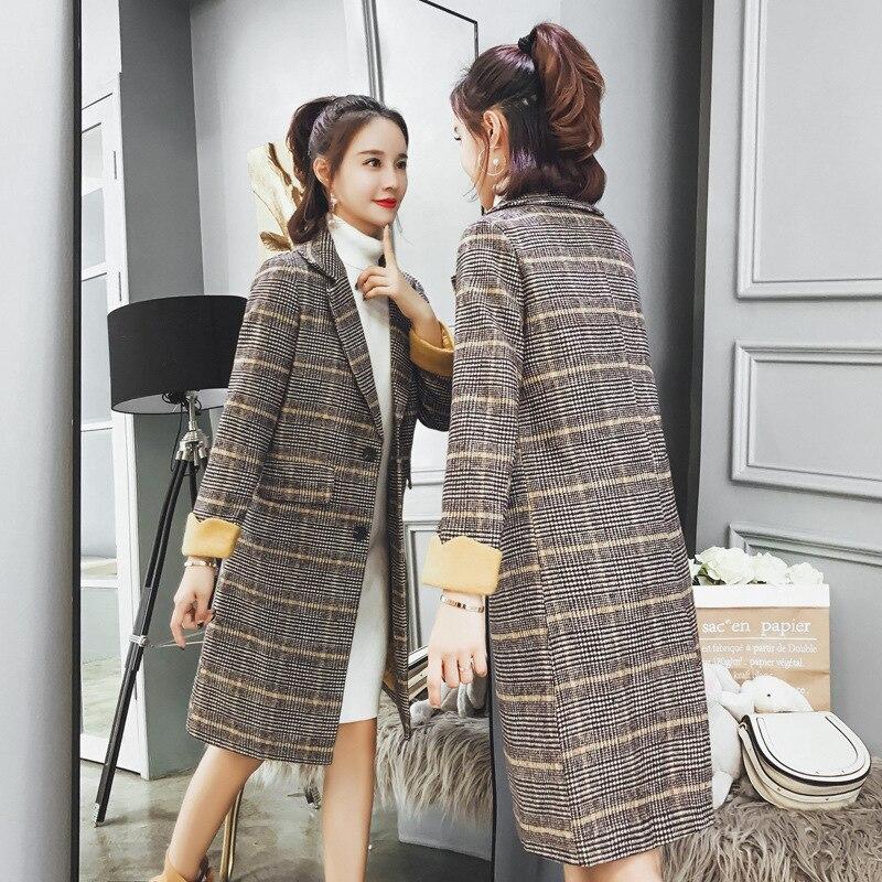 Automne Section Décontracté Veste Manteau Femmes Longue Laine En De Nouveau À hiver jaune Carreaux Kaki Temps CrawXqYa