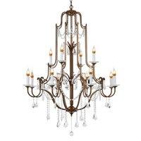Araña de cristal LED de oro antiguo E14 K9 Vintage de lujo  accesorios de iluminación para Loft escalera Sala dormitorio hogar
