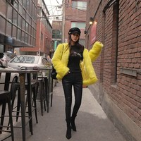 Women Winter Faux Fur Coats Long Sleeve Bright Yellow O Neck Fake Fur Coats Women Thicken
