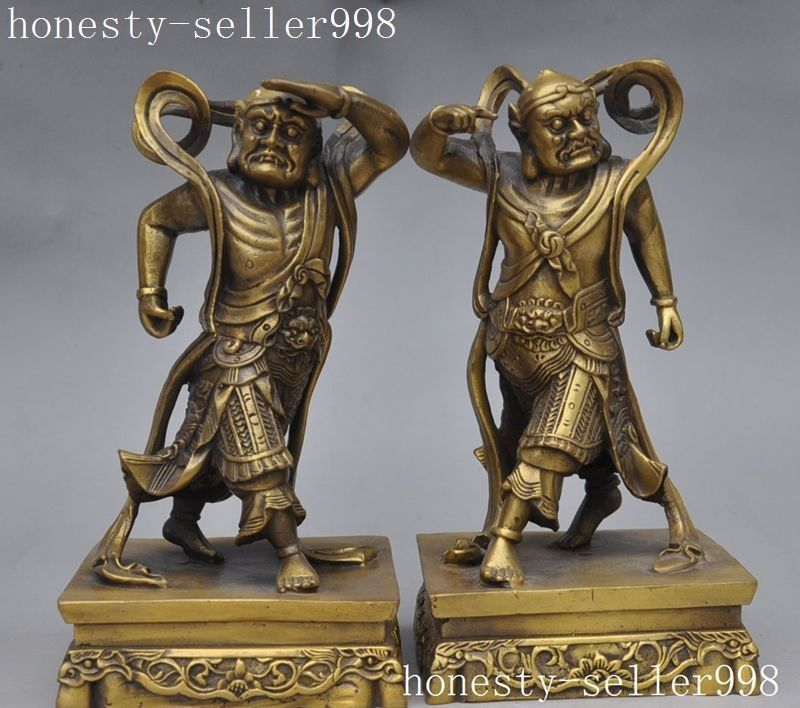 wedding decoration Chinese brass Protect evil spirit Immortal Door God Warrior General Statue Pair
