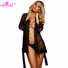 RL80182 Ohyeah sexy lingerie hot sheer robe with panty fitness erotic lingerie good quality three colors sex products for women