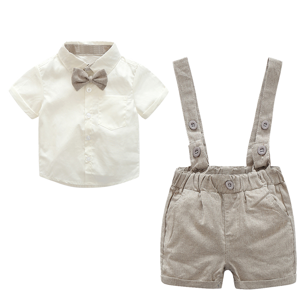 2pcs Baby Clothing Set Kids Toddler Boys Gentlemen Bowknot Short Sleeve Cotton Shirt Suspender Pants Outfit 3 to 18 Months ремни lee ремень gentlemen