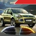 Branco duplo com Virar Amarelo DRL LED Luzes Diurnas para Ford Escape 2013