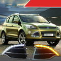 Doble Blanco con el Amarillo A Su Vez DRL LED Luces de Circulación Diurna para Ford Escape 2013