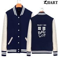 Bad Wolf TARDIS Doctor Who police box window public call Woman Full Zip Autumn Winter Fleece Baseball jackets ZIIART