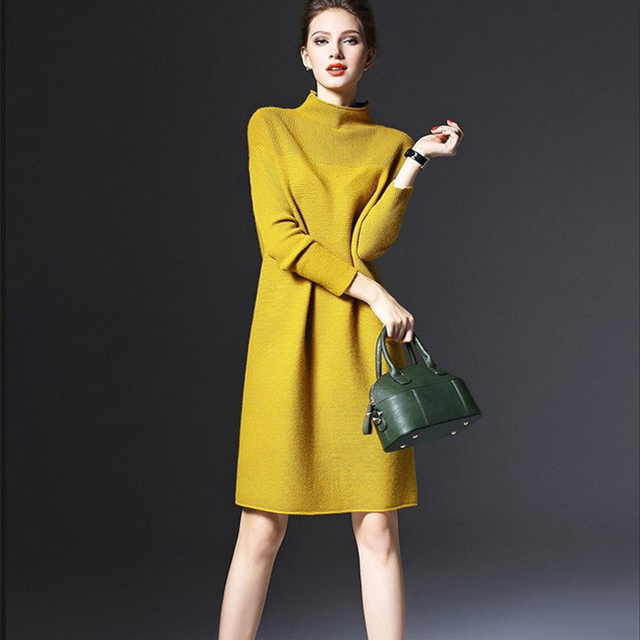fb31ce001d5 5XL Big Size Casual Loose Sweater Dresses Women Yellow Red Green Long  Sleeve Women s Knitted Dress Autumn Winter Dress Warm D042