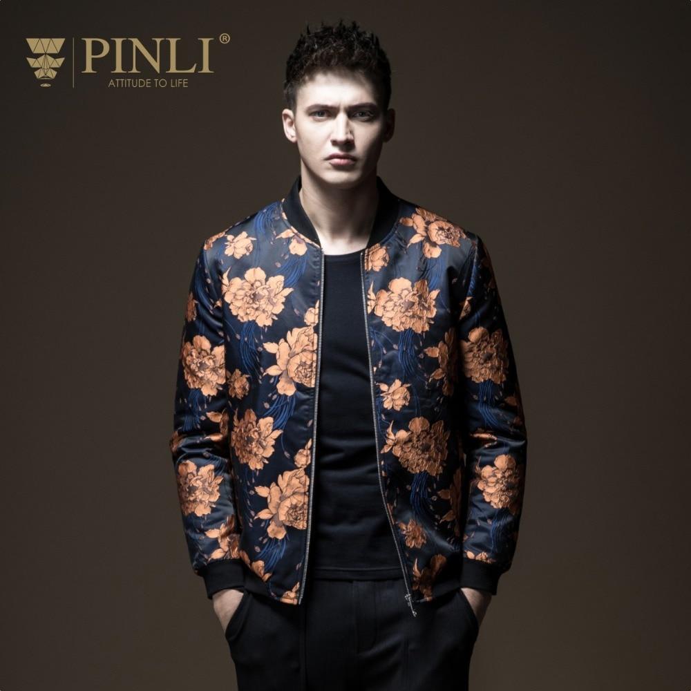 2019 Bomber Jacket Men Jacket Jaqueta Masculino Pinli Pin Autumn Men's Wear Baseball Collar Printed Splice Slim Body B183404401 Jackets     - title=