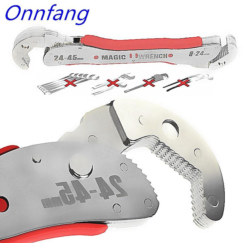 Onnfang Propósito Multi-Funcional Chave Ajustável 9-45mm/9-32mm Magia Universal Chave De Tubulação chave Inglesa ajustável de Pressão Rápida Aderência