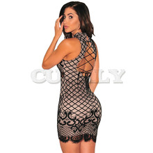 Women Backless Mini Short Lace Dress Elegant Evening Party Sexy Casual Bandage Dresses CUERLY C2454