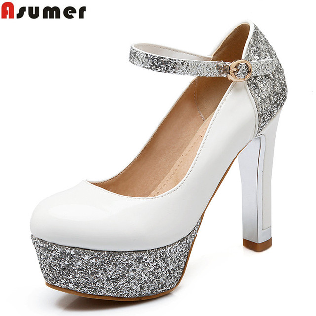 Large size 34-42 new 2016 fashion high quality round toe buckle patent pu leather women pumps high heels bridal wedding shoes