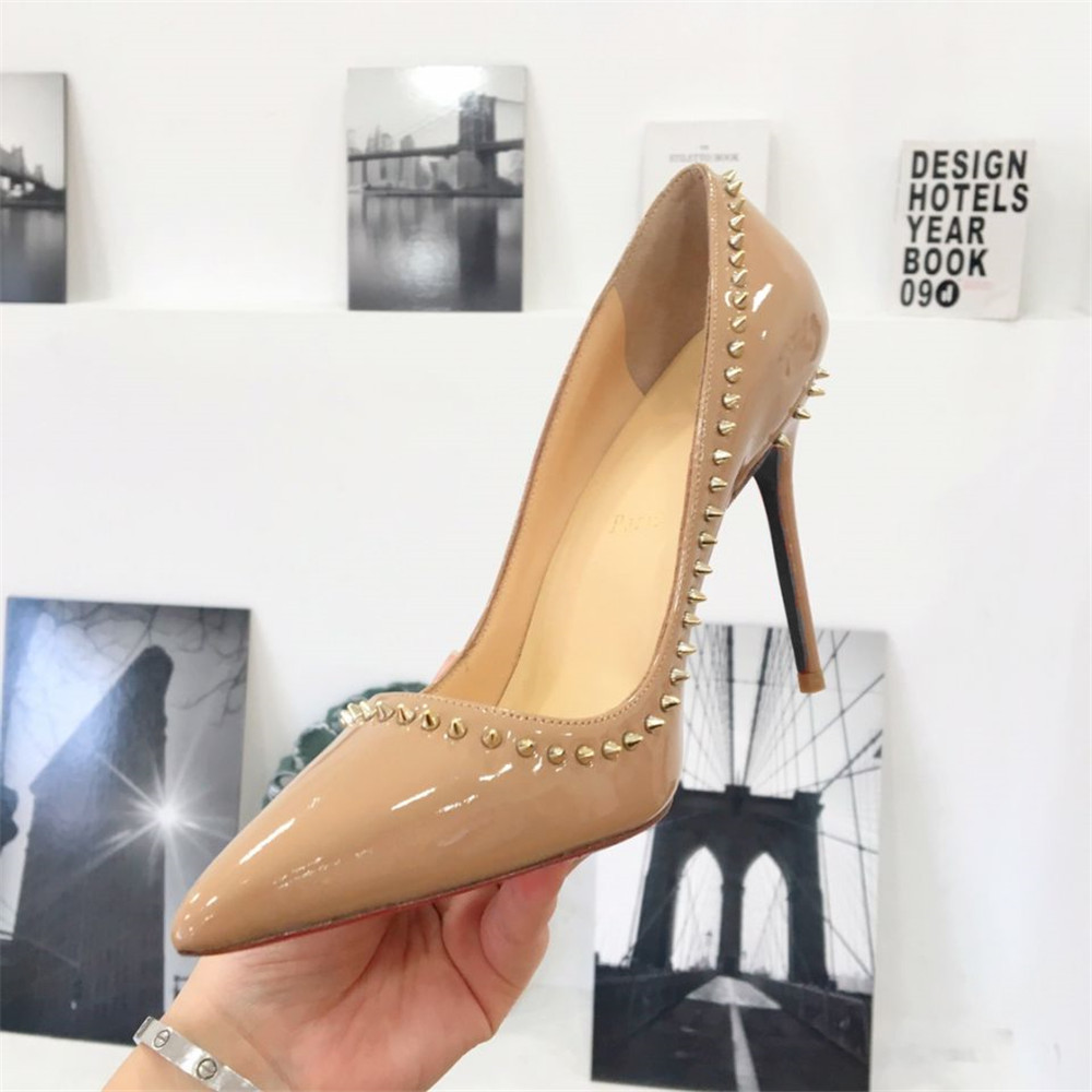 Skehidba Sexy Luxury Rivets Shoes Woman High Heels Ladies Shoes Pointed Toe Heels Pumps Women Shoes