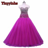 Real Photos Beaded Crystals Rose Red Sweetheart Tulle Long Formal Prom Dresses Pageant Sexy Vestido De