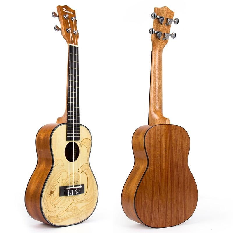 Kmise Concert Ukulele Spruce 23 inch Ukelele Uke 4 String Hawaii Guitar Mahogany Back Side kmise concert ukulele solid spruce ukelele 23 inch 18 fret uke 4 string acoustic hawaii guitar with gig bag