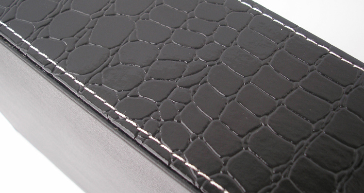 Plateau de service en cuir noir | croco rectangle, plateaux bandejas pour la vaisselle, fruits collations stockage avec poignée découpée 40x30cm - 6