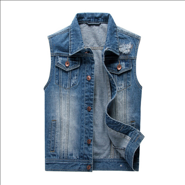 Men's Denim Vest Classic Break Holes Jeans Men Cowboy Vintage Casual Personalized Men Jacket&Overcoat Button Vest Size M-4XL