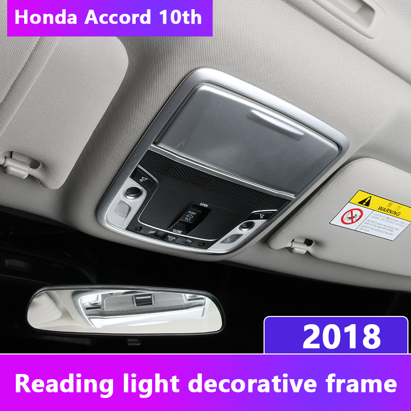 Carbon fiber Car Front Rear Reading Light Lamp Decoration Trim Frame Cover Interior Moulding For <font><b>Honda</b></font> <font><b>Accord</b></font> <font><b>2018</b></font> <font><b>Accessories</b></font> image