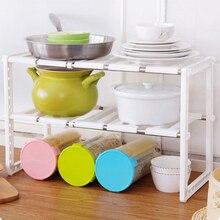 2 Tier Plastic Expandable Under Sink Storage Rack Kitchen Organizer Holders kitchen organizer High Quality