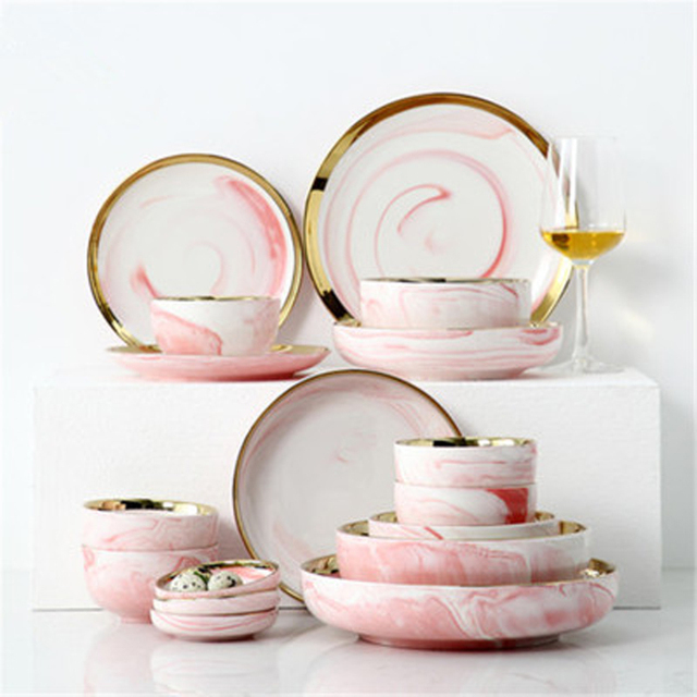 White/Pink Marble with Gold Edge Plate and Bowl 6 People Sets 26 pcs