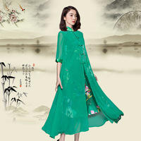 New fashion Tang suit modern traditional Chinese style gowns summer dress Qipao long green vintage cheongsam for women