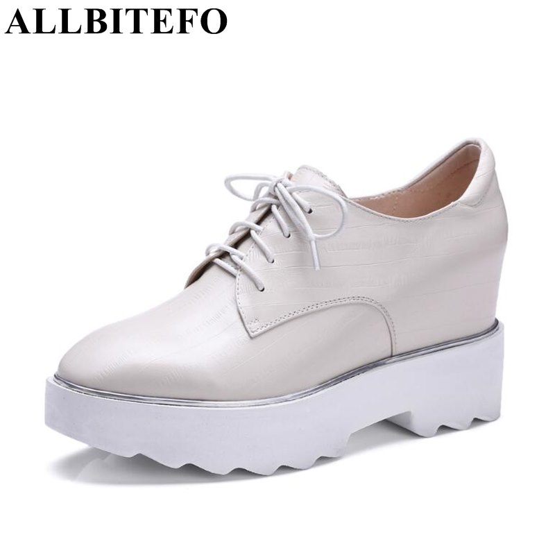 ALLBITEFO fashion casual genuine leather wedges heel platform women pumps round toe high heels ladies shoes woman sapatos femini hot sale square toe full genuine leather charm design platform women pumps platform fashion casual party shoes ladies shoes