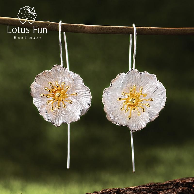 Lotus Fun Real 925 Sterling Silver Handmade Fine Jewelry Blooming Poppies Flower Dangle Earrings for Women