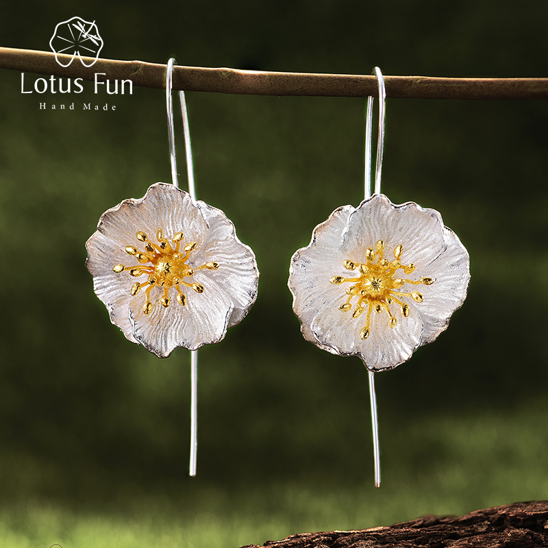 Lotus Fun Real 925 Sterling Silver Handmade Fine Jewelry Blooming Poppies Flower Dangle Earrings for Women