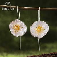Lotus Spaß Echt 925 Sterling Silber 18K Gold Handgemachtes Feine Schmuck Nette Blühender Mohn Blume Baumeln Ohrringe für Frauen brincos
