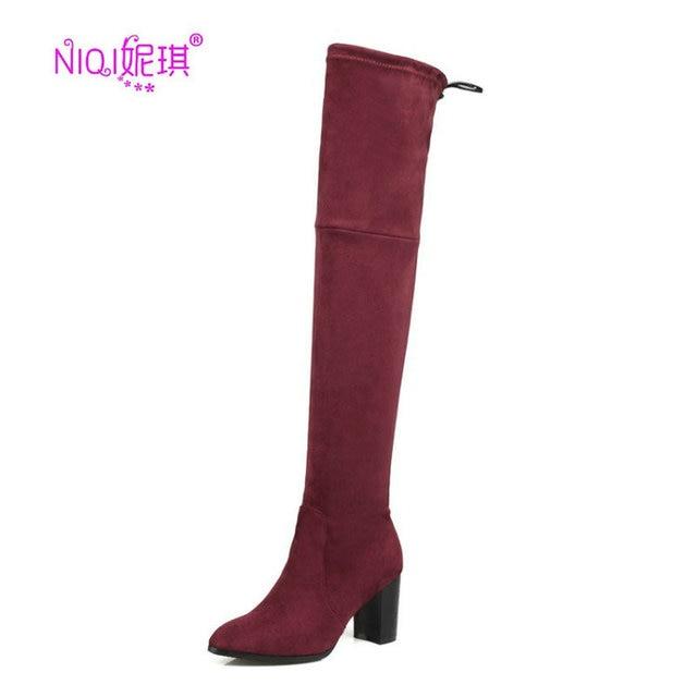 2016 automne/hiver chaude nouvelle jambe maigre sexy stretch mode féminine à talons hauts, bottes