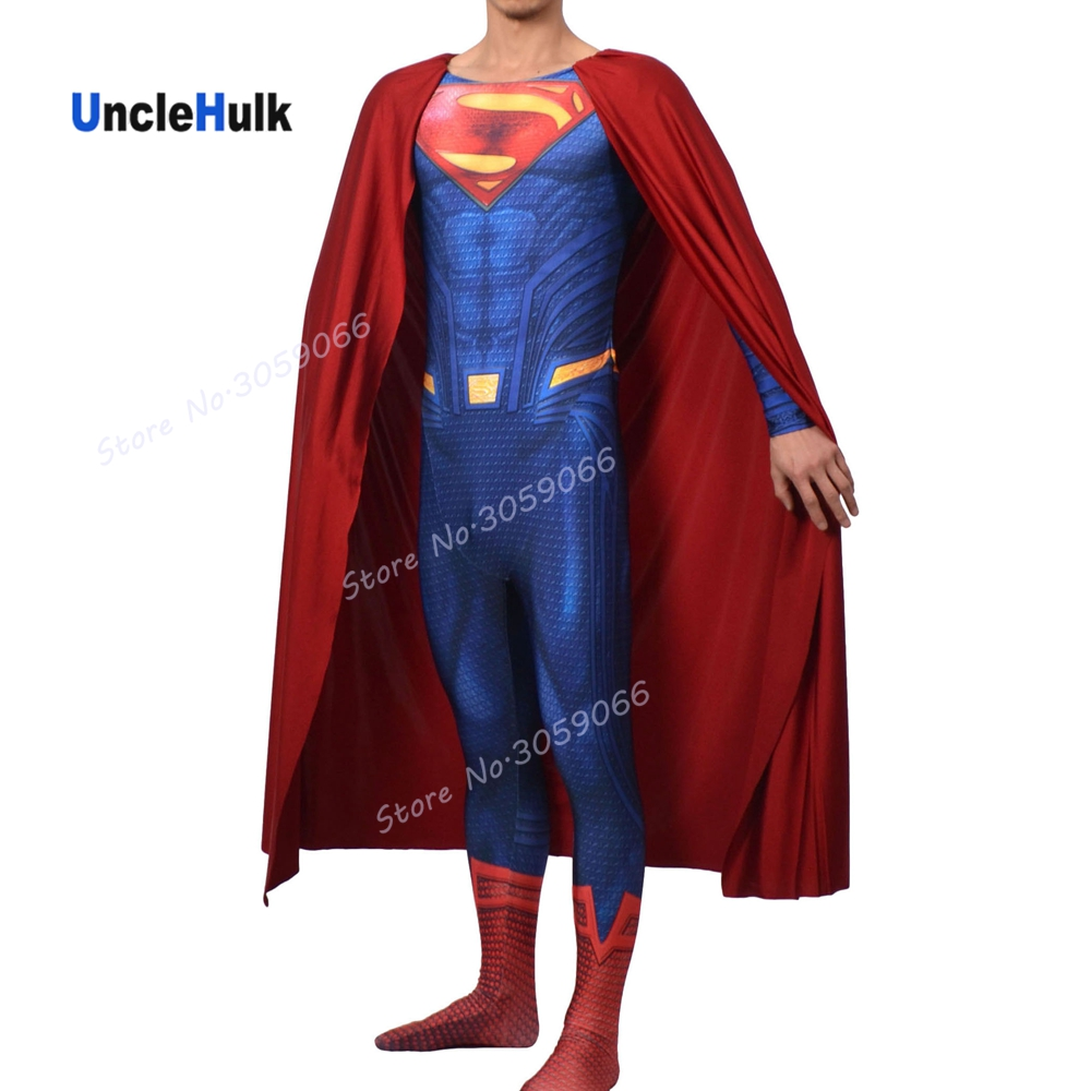 High Quality Man of Steel Superman Costume Printed Spandex Lycra Cosplay Costume - with 3D Muscle Shading - No.6 | UncleHulk