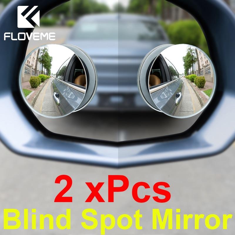 FLOVEME Universal Car Mirror 360 Degree Rotation Adjustable Framless Blind Spot Mirror Auto Round Glass Convex Rear View Mirrors