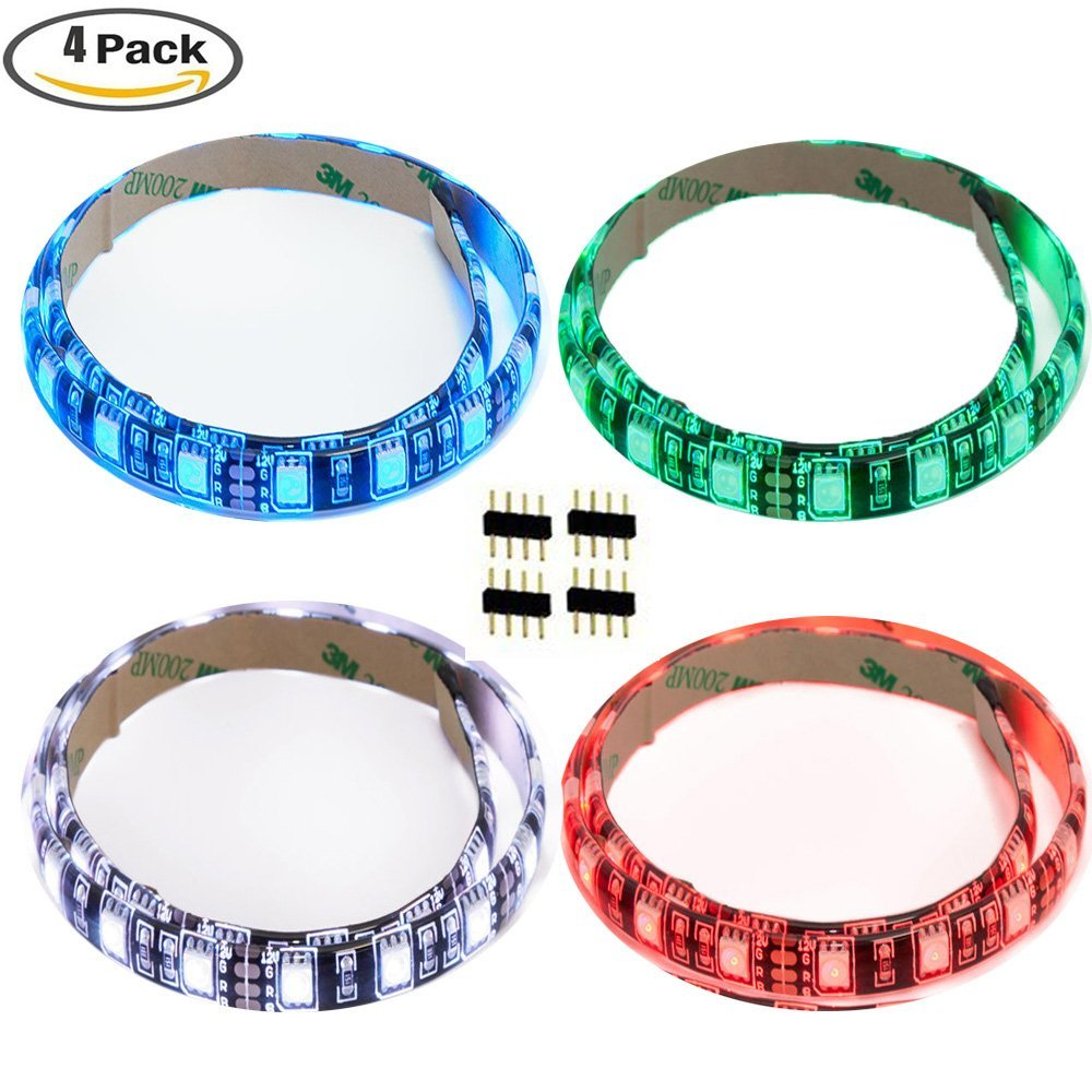 Rgb Led Home Theater Accent Lighting Kit: 4 PCS 5050 RGB LED Strip Lights,11.8 Inch 30cm 12LEDs Led