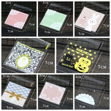 Wholesale lot 100pcs 7x7CM Flower Animal Cake Cookie Packaging Bag&Gift Candy Bags Self Adhesive Pouch Wedding Birthday Party