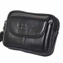 Real Genuine Leather Designer Men Waist Bag Cell Phone Mobile Case Hip Belt Fanny Pack Double Zipper Cowhide Purse Clutch Bags