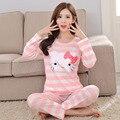 Nuevo Otoño y El Invierno de Algodón Mujeres de Los Pijamas Conjuntos de Pijamas de Dibujos Animados Del Gato ropa de Dormir Pijamas para mujeres de la muchacha mujer de talla grande