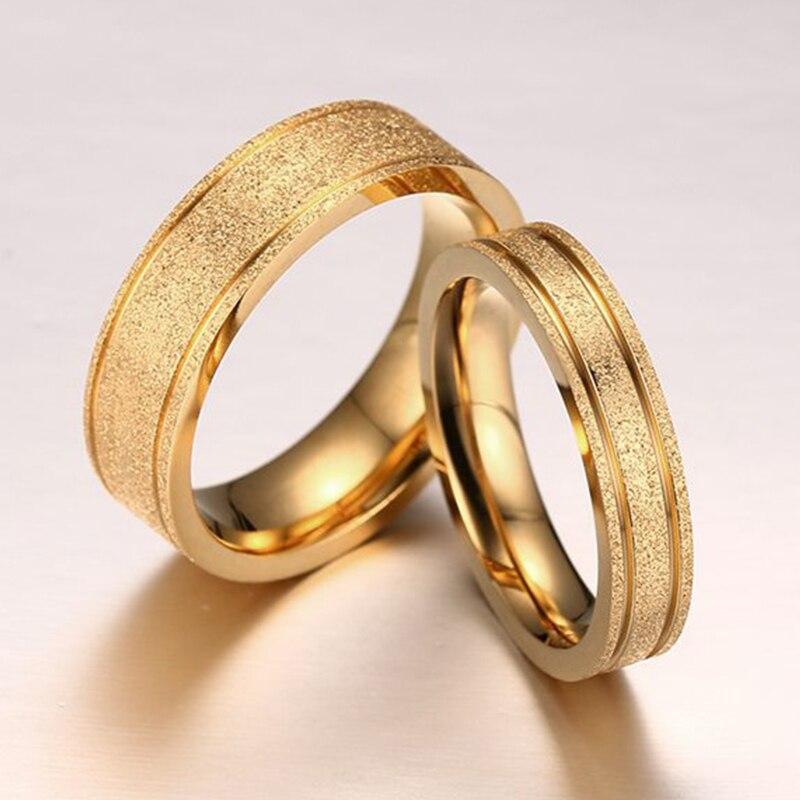 316 Stainless Steel Couple Rings Vintage Titanium Dull Polish Gold Wedding Engagement Ring Women Men Finger Ring VR321