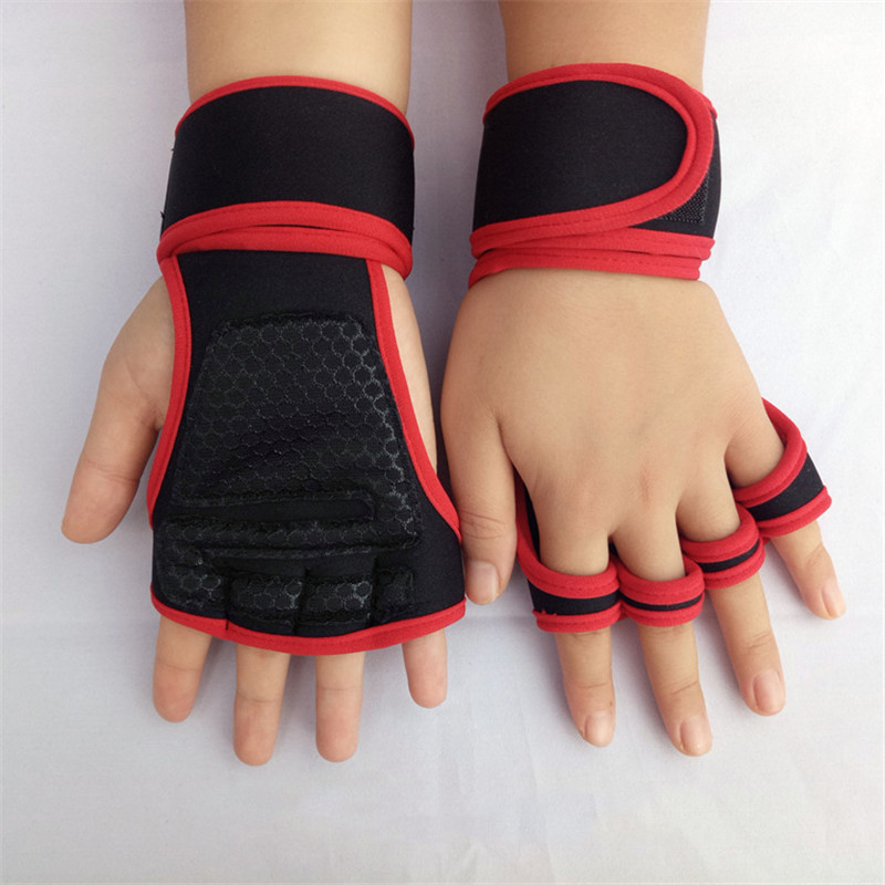 1 Pair Weight Lifting Gloves Women Men Silicone Padding Wrist Support For Fitness Cross Training Hand Guards Gym Powerlifting