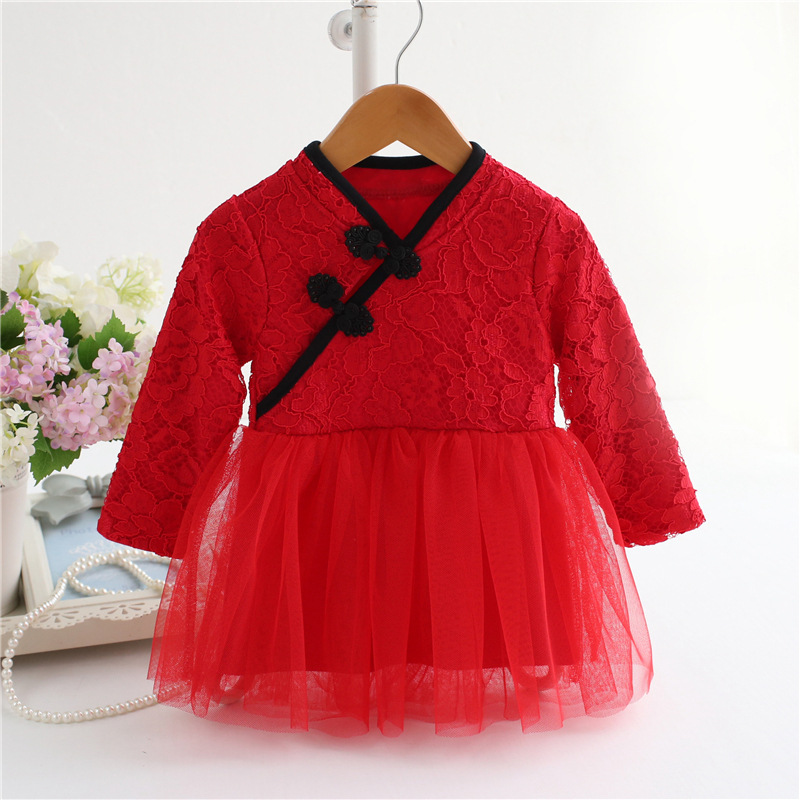 Baby Girl Dress 2016 Autumn New clothes Infant Party dresses for gils lace long sleeve Dress vestido infantil fit 0-24M