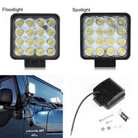 2pcs 48W Square LED Work Light Bar Spot Flood 12V 24V Off Road Worklight Waterproof For