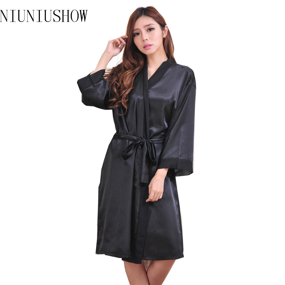 Top Quality New Black Chiese Women Silk Chiffon Robe Sexy Kimono Bath Gown Sleepwear Nightgown Casual Robe One Size T06