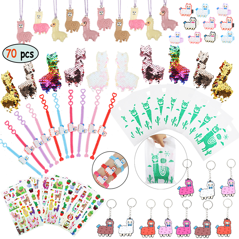 60pcs/set Llama Party Favors Supplies Girls Gift Bag Alpaca Toys Gift for Kids Birthday School Prizes Rewards Baby Shower Favors